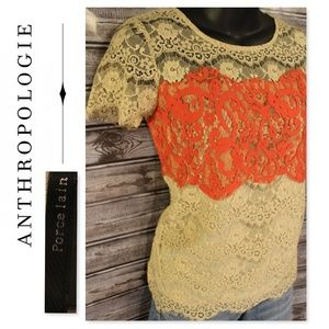 3/30<>Two Tone Lace Top by Porcelain for Anthro